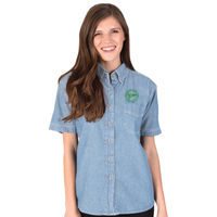 MYC - Ladies' Short Sleeve Denim Shirt - BG-8202S Thumbnail